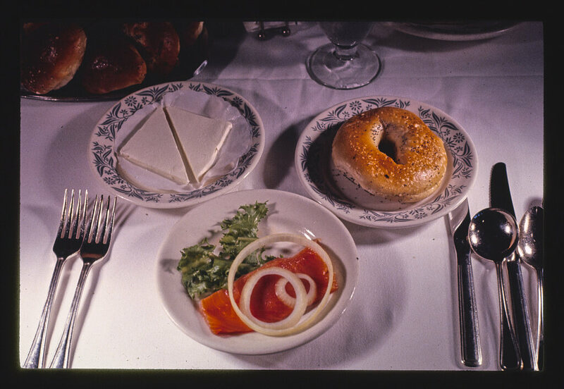 A bagel served with lox and cream cheese at Kutsher's restaurant in New York, 1977.