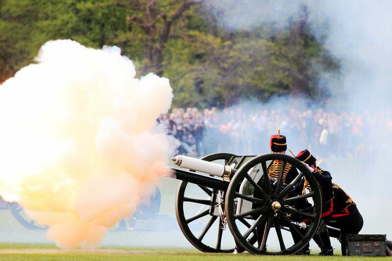 A British gun salute to mark the birth of British Princess Charlotte Elizabeth Diana of Cambridge.