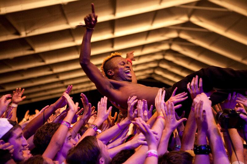 Major Lazer performing at Coachella in 2010.