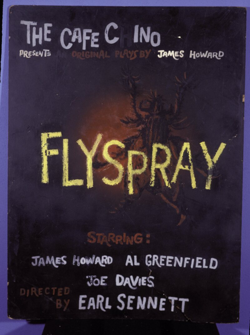 James Howard's <em>Flyspray</em>, in 1960, is widely known as the first original production to be put on at the Caffe Cino, here misspelled.