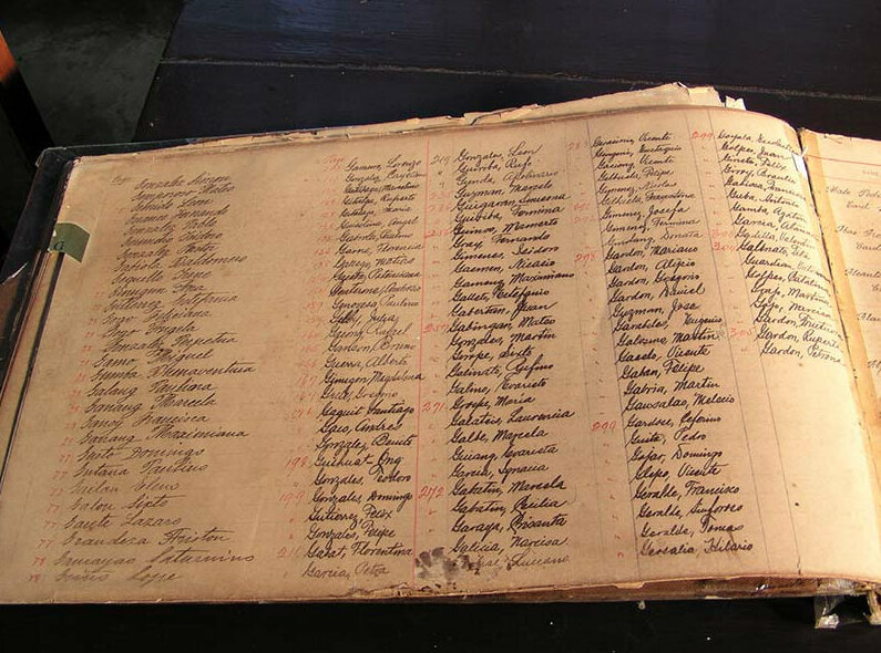 The register of people admitted to Culion.