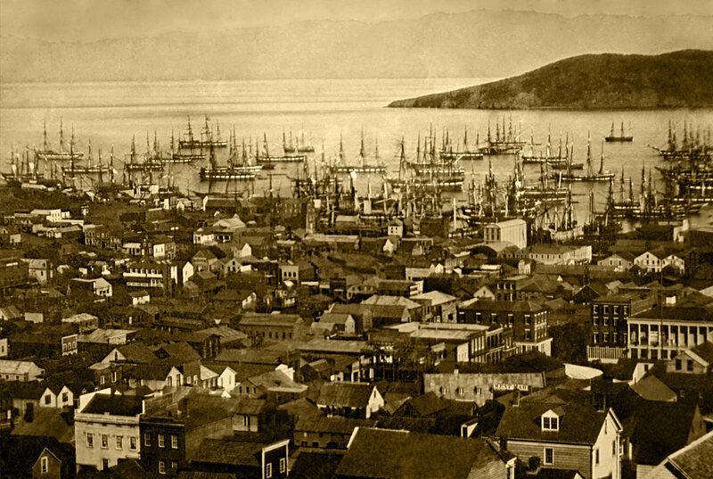 The San Francisco harbor at Yerba Buena Cove, pictured around 1850.