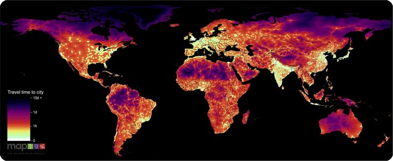 A global isochrone map, showing how long it takes to travel from a given spot to the nearest city.