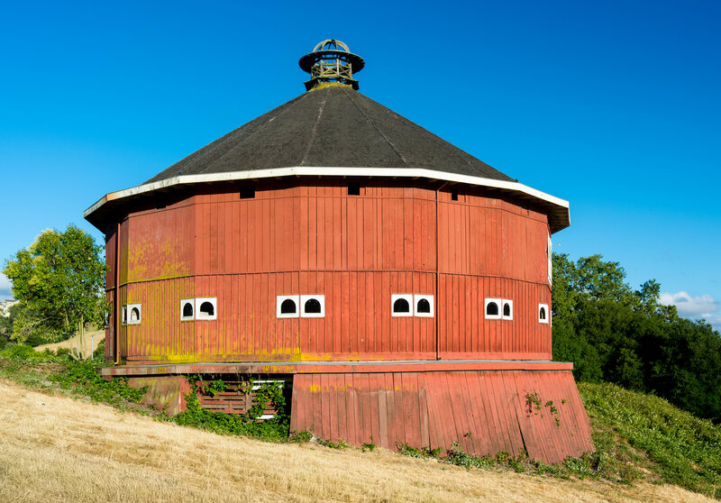 The Fountaingrove Round Barn was a casualty of the fires and is the inspiration for Roberts's ceramic design.