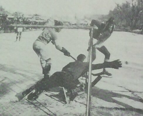 A 1936 hockey game between Chosun Christian College (white) and Pyongyang Foreign School.