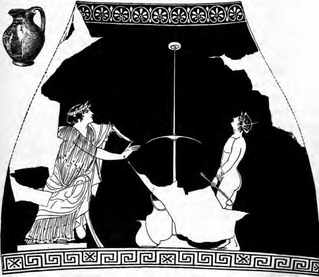 A woman plays kottabos, and holds the kylix in her hand.
