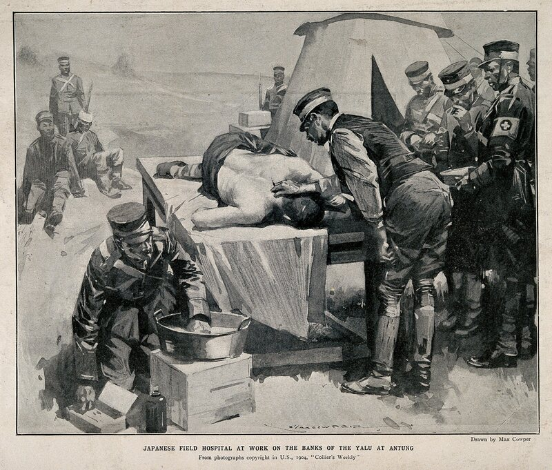A Japanese battlefield hospital during the Russo-Japanese war