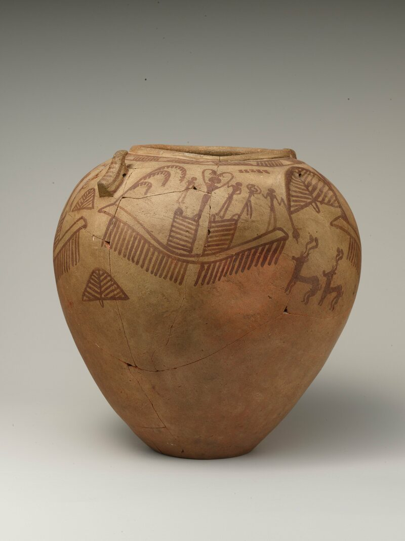 A decorated vessel showing the chief female ritualist,            males at a smaller sale, s-sign and sacrificial addax.