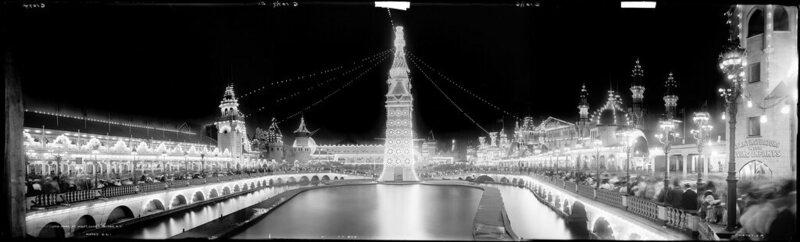 Coney Island's Luna Park, at night