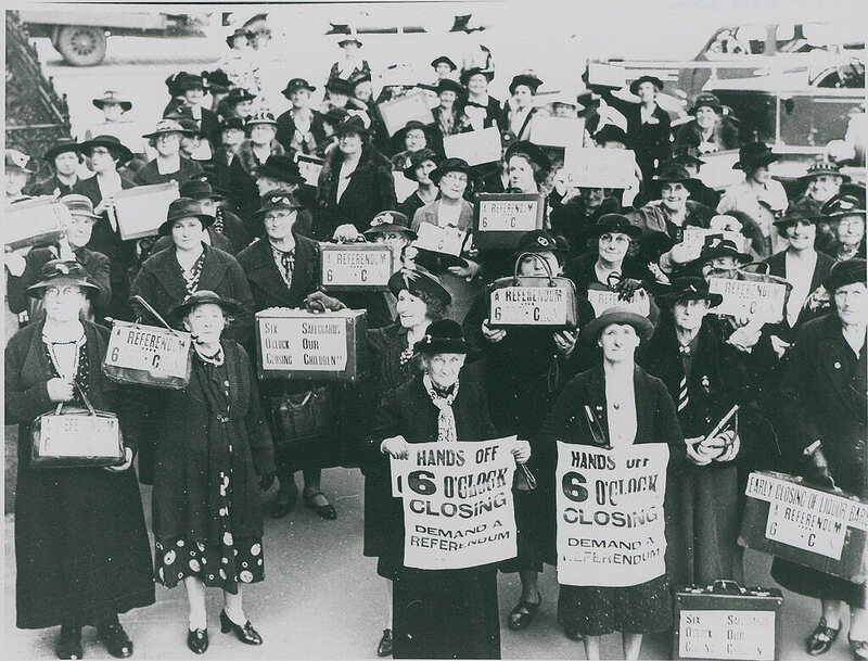 A group of Australia women protest for a referendum prior to changes to hotel hours in September 1938.