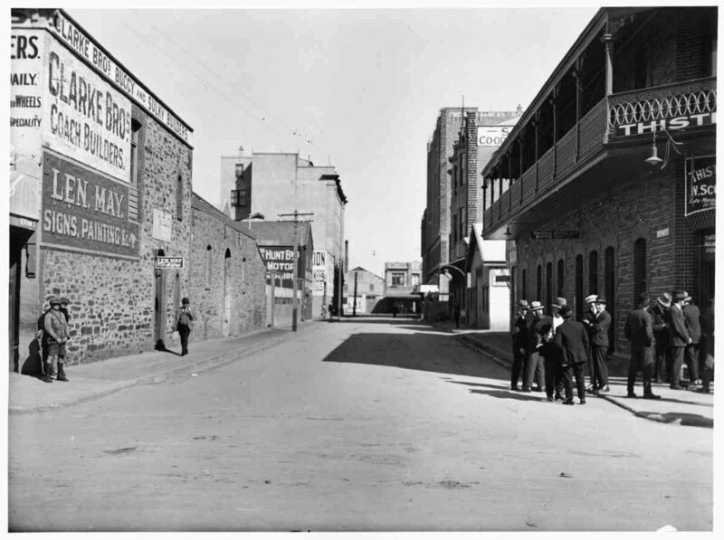 Due to the legislation, Australia and New Zealand's streets were virtually deserted after 6 p.m., as seen in this 1923 shot of Waymouth Street, in Adelaide.