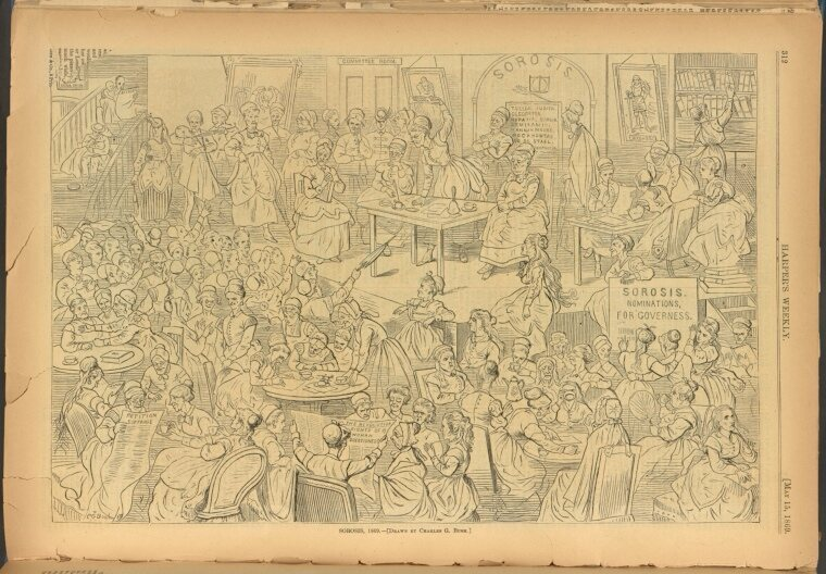 A 19th-century magazine caricature of a Sorosis meeting.