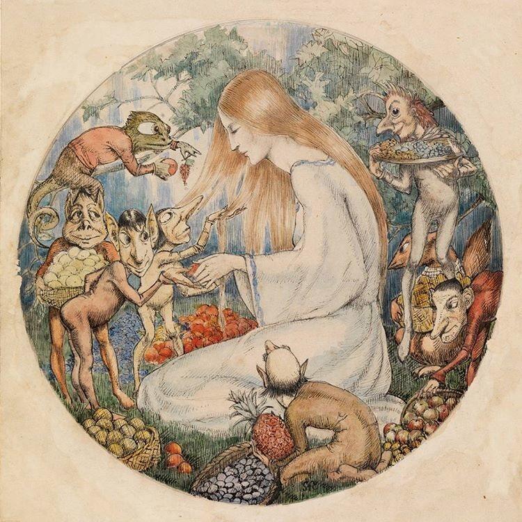 A 1916 illustration to Christina Rossetti's <em&gtGoblin's Market</em> by Winifred Knights.