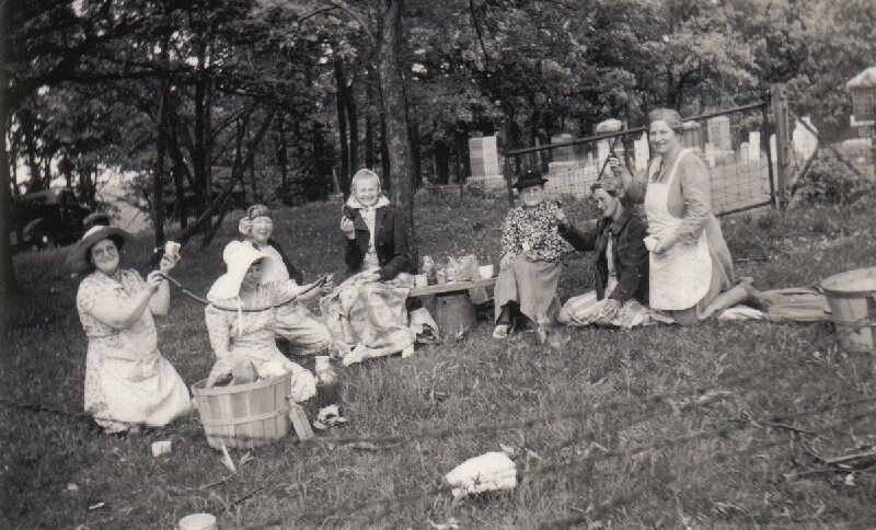 Sausages are served at a picnic at the Greve Cemetery in Hoffman Estates, Illinois.