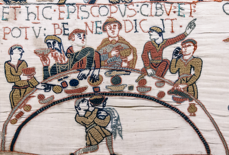 Meals were eaten communally and may have looked rather like this feast scene from the Bayeux tapestry—albeit rather less raucous.