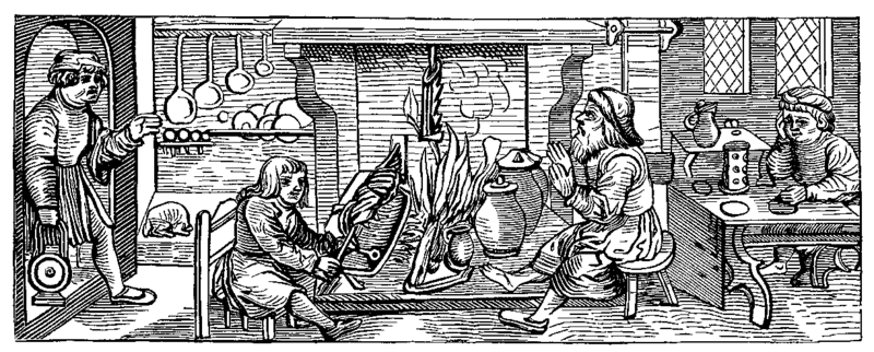 A Medieval woodcut shows a typical kitchen.