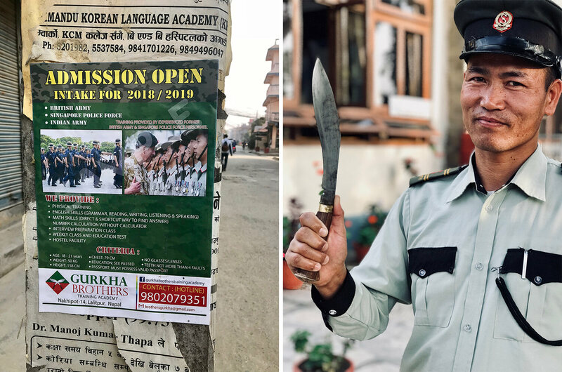 From left: advertisement for one of the dozens of private training schools which have opened up around Nepal over the past 15 years; a hotel security guard holds up a Kukhuri, the traditional weapon of the Gurkhas.
