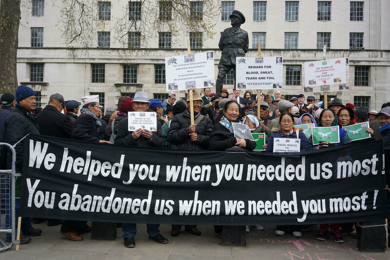 Gurkha veterans, family, and supporters protest over pensions outside Downing Street, London.