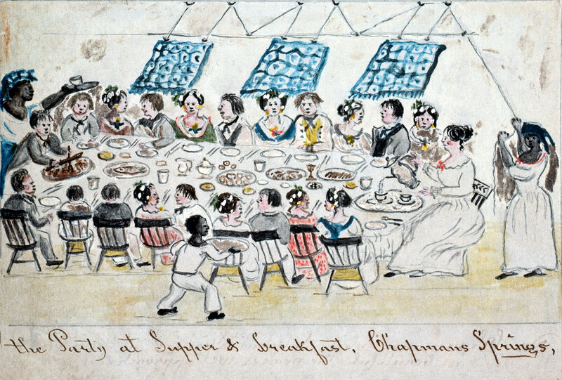 A watercolor drawing depicts a dinner party held in Giles County, Virginia. An enslaved woman and boy serve food and drink, while a third slave controls the punkah fans.