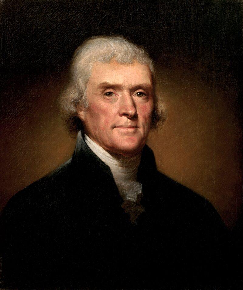 An 1800 portrait of Thomas Jefferson.