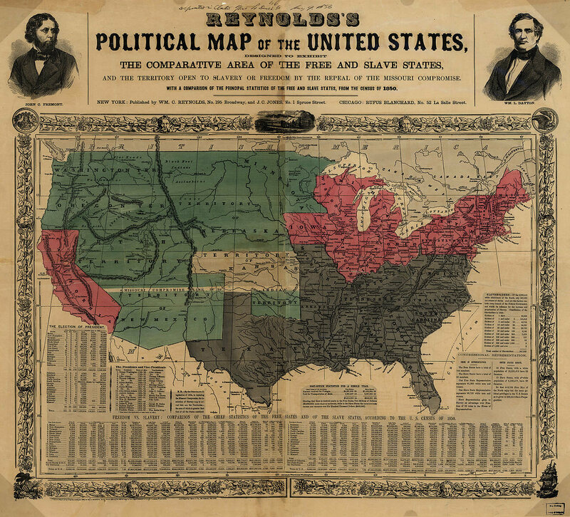 "This 1856 ""political map"" highlights ""the territory open to slavery or freedom by the repeal of the Missouri Compromise""—namely, Kansas."