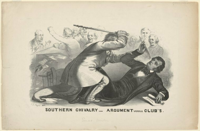 The cartoonist John L. Magee's rendering of the attack on Charles Sumner.