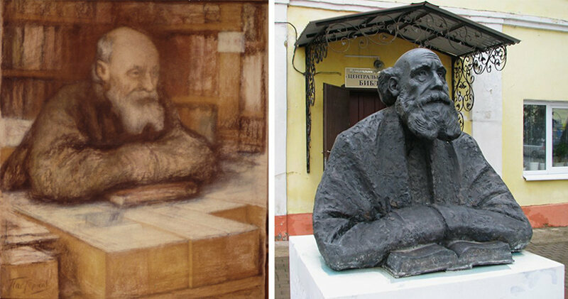 Left to right Nikolai Fedorov in his study and his monument in Borovsk Kaluga & The Russian Philosopher Who Sought Immortality in the Cosmos - Atlas ...