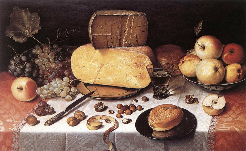 <em>Still-Life with Fruit, Nuts and Cheese</em> by Floris van Dijck c. 1613.