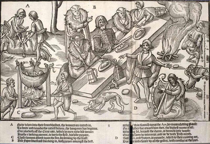 <em>The Image of Irelande</em> by John Derrick, depicting a Celtic feast c. 1581.