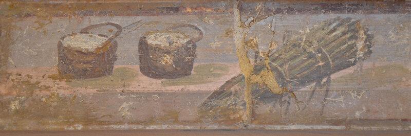 A still life Roman fresco showing cheese and asparagus.