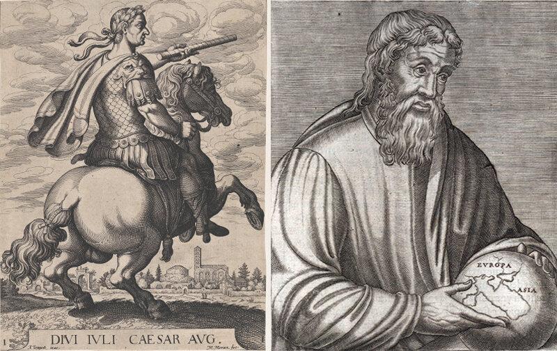 Left to right: Julius Caesar's successor, Octavius, and Strabo.