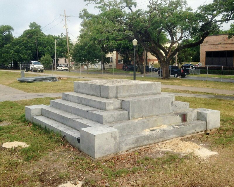 The former location of a Jefferson Davis memorial in New Orleans, which was removed in May of 2017.