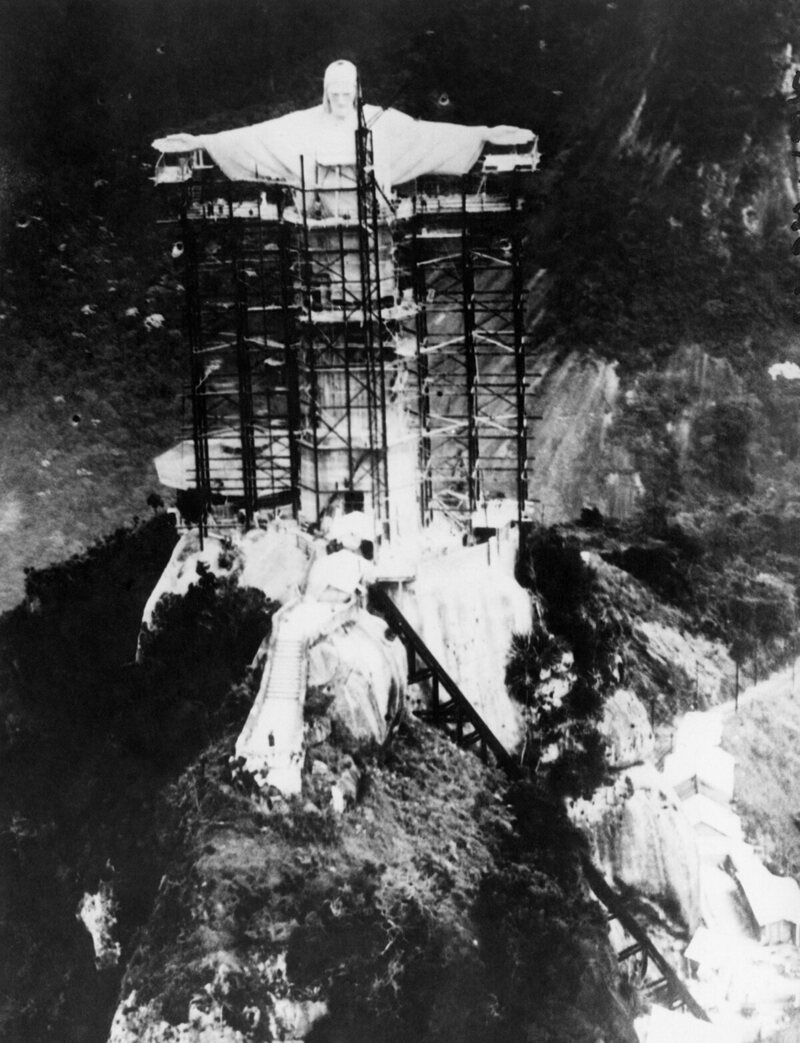 Christ the Redeemer statue under scaffolding prior to its unveiling, Rio de Janeiro, 1931.