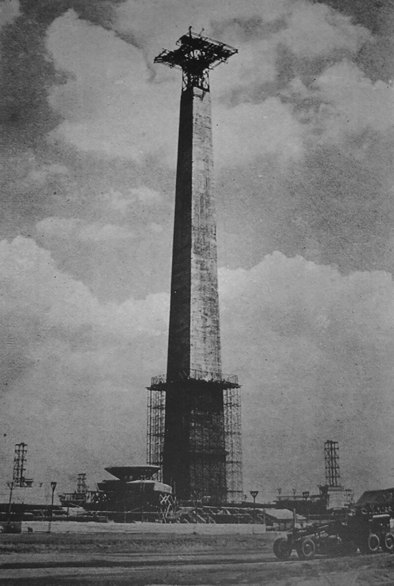 Jakarta's National Monument under construction, 1963.