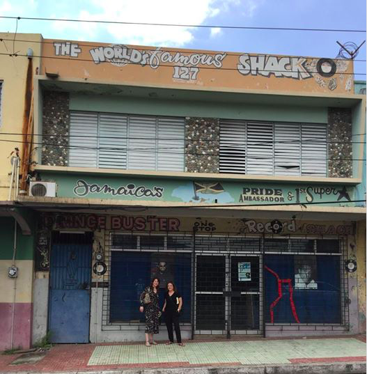 Prince Buster's Record Shack on Orange Street, in Kingston, Jamaica. Heather Augustyn and Nina Cole pictured in front.