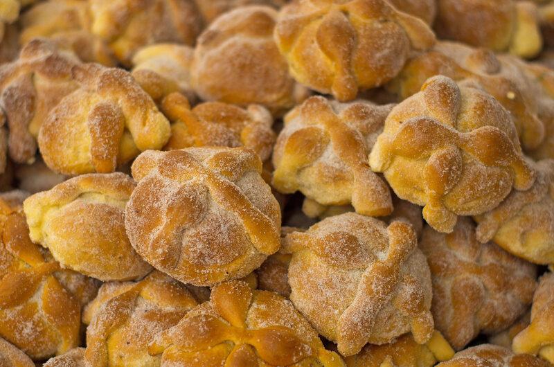 Pan de muerto for sale at market.