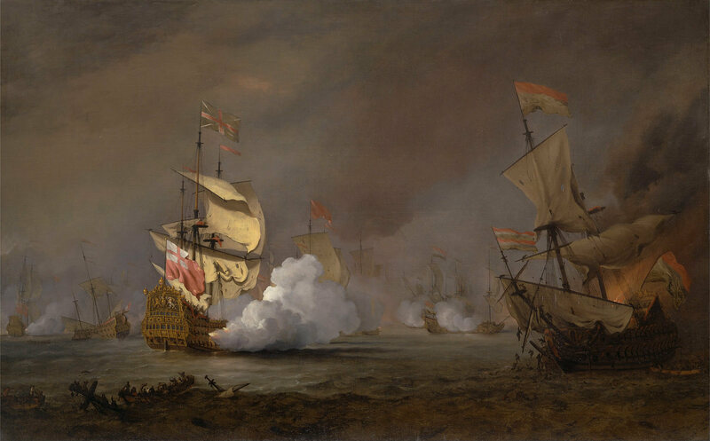 A pitched sea battle during the Anglo-Dutch Wars.