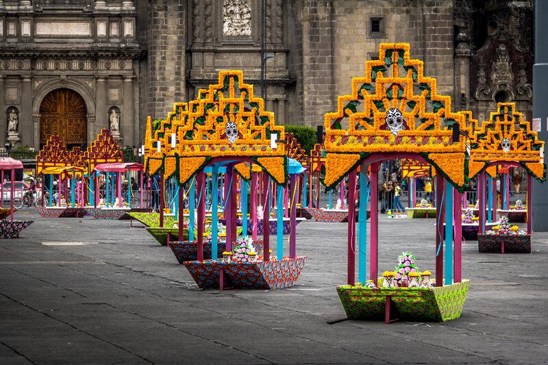 Mexico City's historic center Zócalo decorated in preparation for the Día de los Muertos festivities.