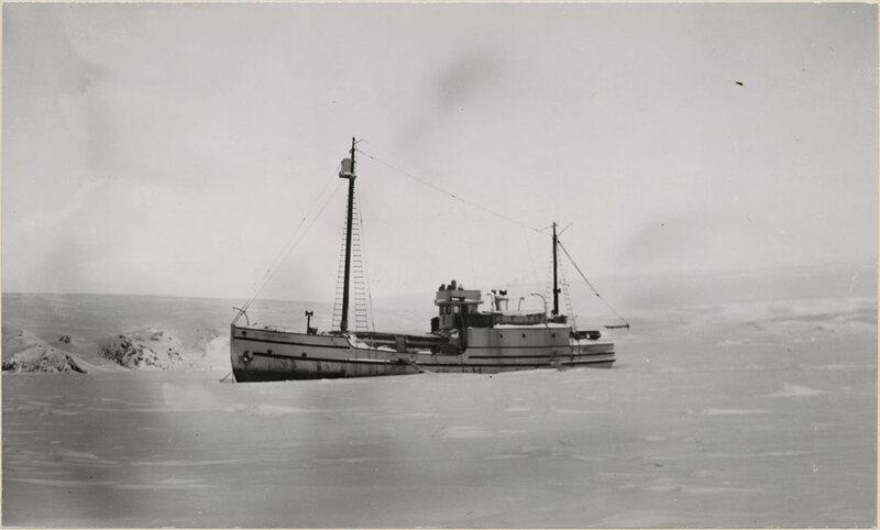 The <em>Marine St. Roch</em> locked in snow on Herschel Island in October 1947.