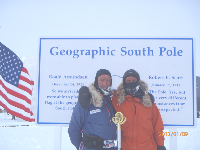 Worsley, left, and Rudd pose at the Geographic South Pole in early 2012.