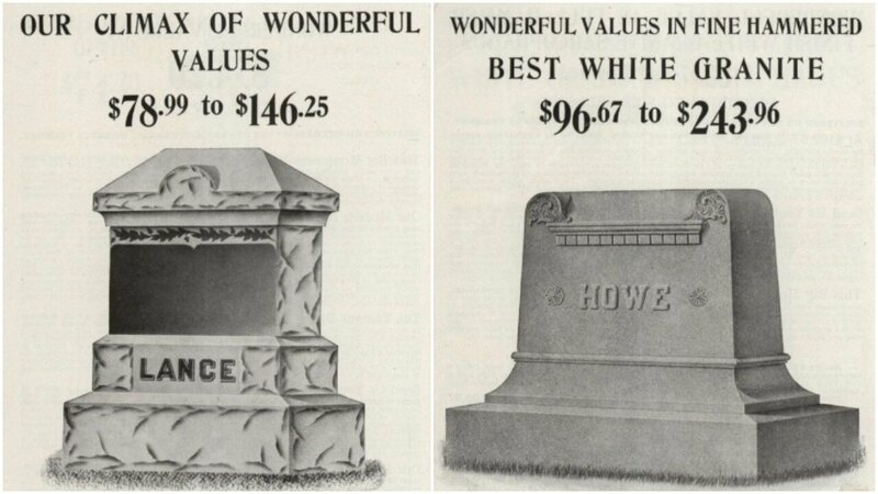 Tombstones in Sears catalog