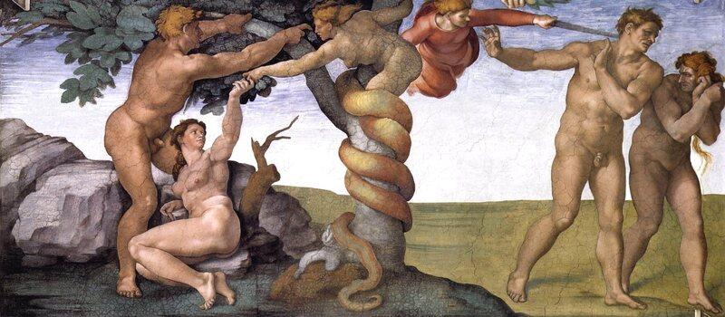 Adão e Eva comendo da figueira no Jardim do Éden.