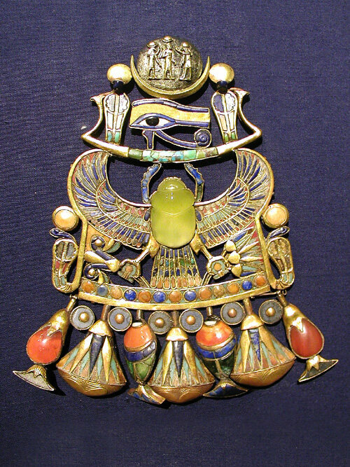 Breastplate found in King Tutankhamun's tomb. The center scarab is made of Libyan Desert Glass.