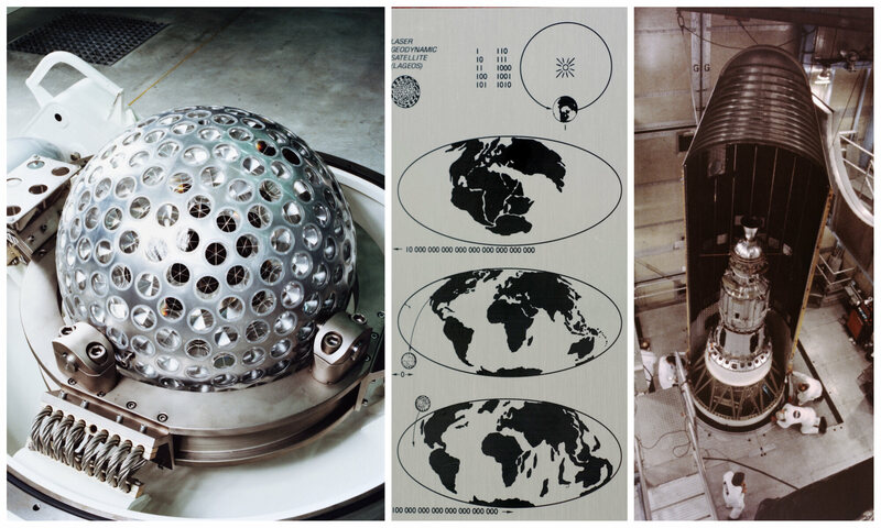 The Italian LASER Geodynamics Satellite (LAGEOS); the LAGEOS plaque, designed by Carl Sagan as a message to future civilizations; the satellite inside the nose cone of a rocket (left to right).