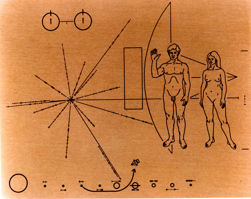The visual message on the plaques placed on the Pioneer 10 and 11 spacecrafts, which will be traveling through space for millions of years.
