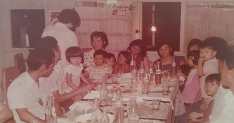 Linda Nishikido's family, sharing a meal in the 1970s.
