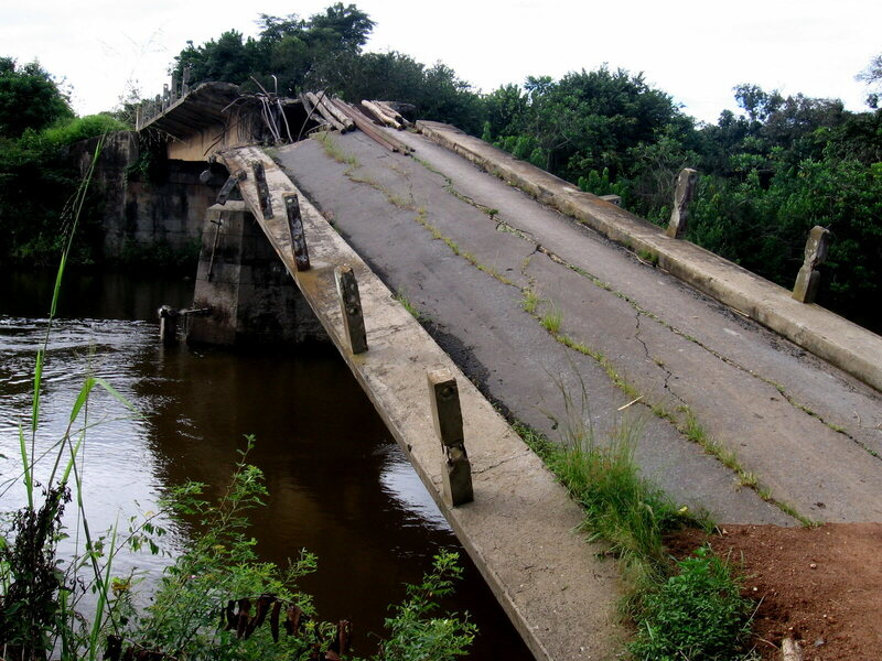 A bridge destroyed by Angola's civil war.