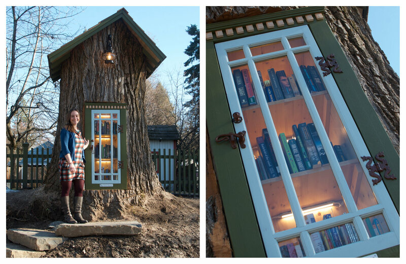 Sharalee Armitage Howard stands in front of her Little Free Library (left); a peek inside the door (right).