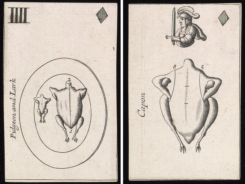The cards included diagrams for main courses small and large.