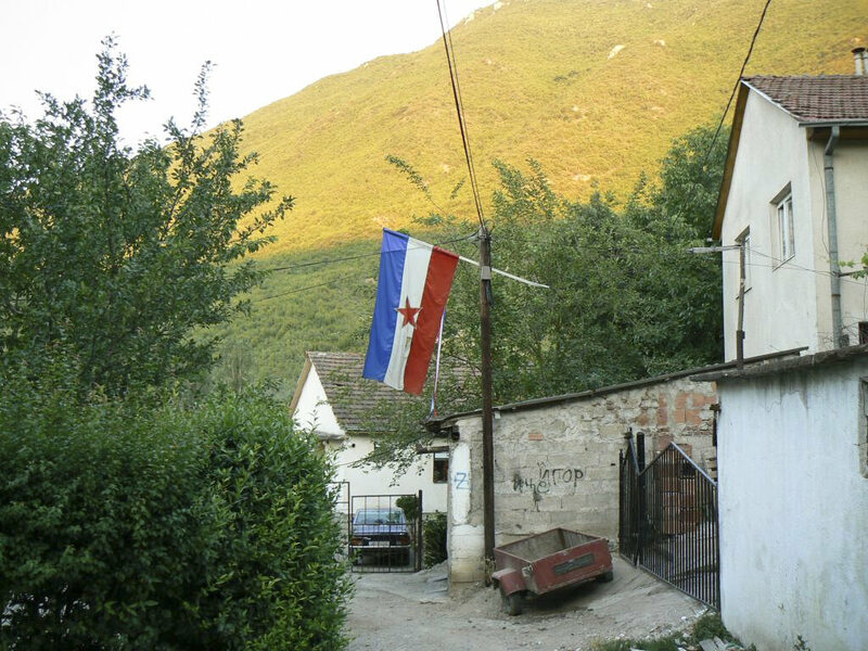 The flag of the former Yugoslavia, near Skopje, Macedonia.